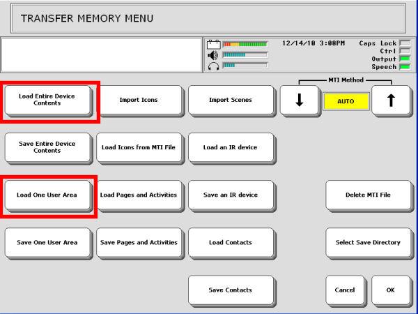 memory transfer menu.