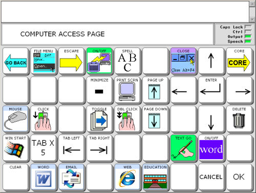 Preprogrammed computer activities and pages in the vantage lite